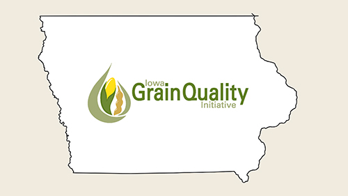 Iowa Grain Quality Logo in an outline of the state of Iowa.
